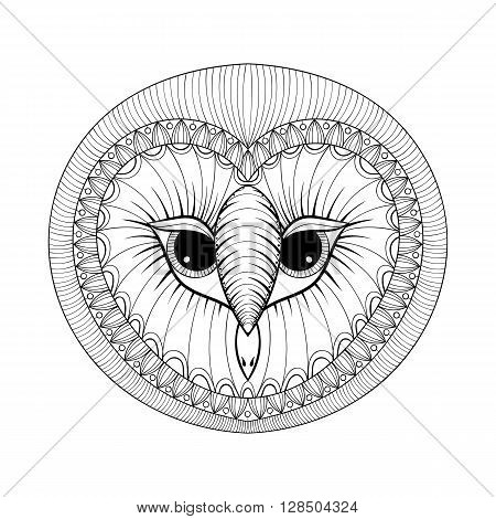 Coloring page with Owl head, zentangle stylized hand drawing illustartion, tribal totem, mascot, doodle bird for art therapy books or tattoo, logo design, postcard. Vector monochrome sketch of polar bird.