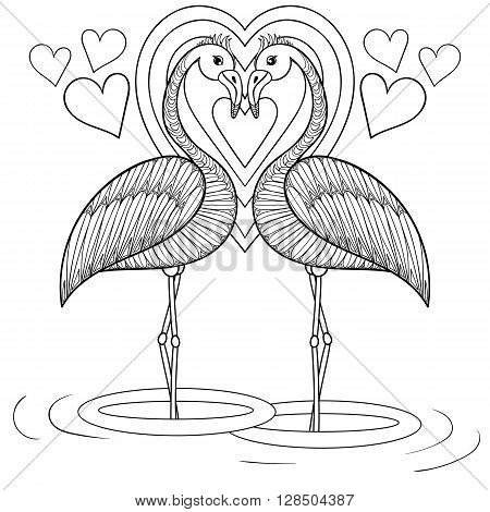 Coloring page with Flamingo in love, zentangle hand drawing illustration tribal totem bird for adult Coloring books or tattoos, logo, postcard. Vector monochrome sketch of exotic bird.