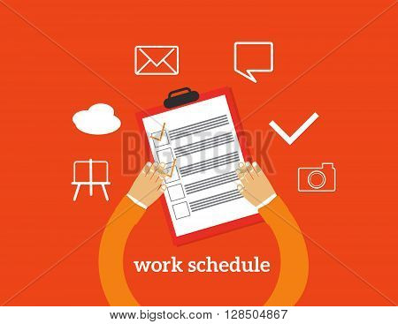 Flat design colorful vector illustration concept fo work schedule assignment, planning working day, productivity, personal development