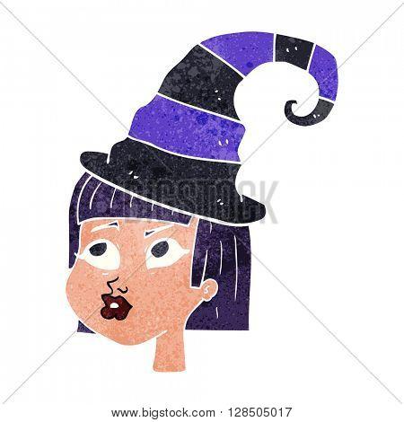 freehand retro cartoon witch