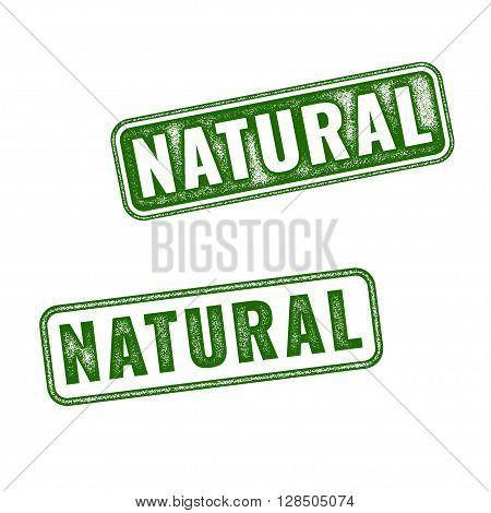 Set Of Green Vector Natural Grunge Rubber Stamp