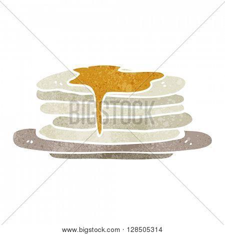 freehand retro cartoon stack of pancakes