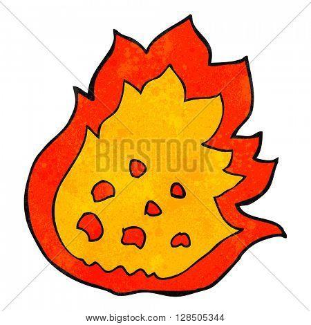 freehand retro cartoon burning fire