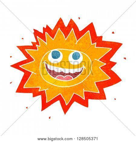 happy freehand retro cartoon sun