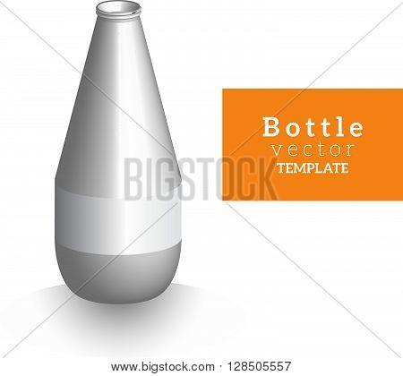 3D bottle vector template for design mockup