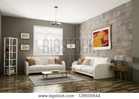Modern living room interior with two white sofas 3d rendering