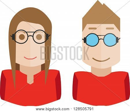 Set of avatars of hipsters, geek, flat design