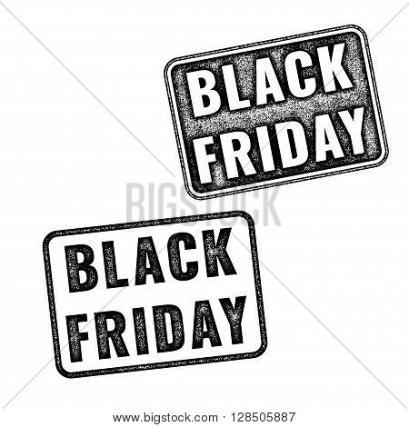 Two Black Realistic Vector Black Friday Stamps