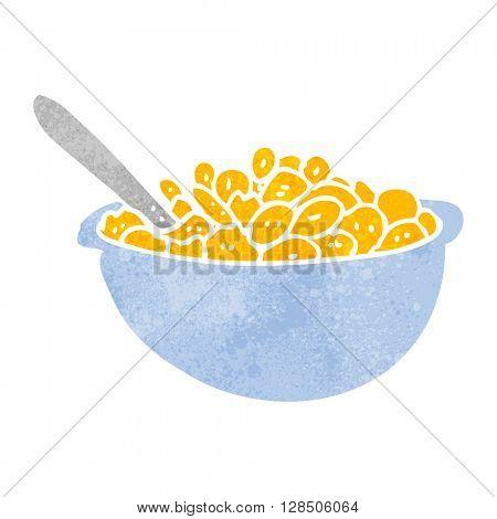 freehand retro cartoon bowl of cereal
