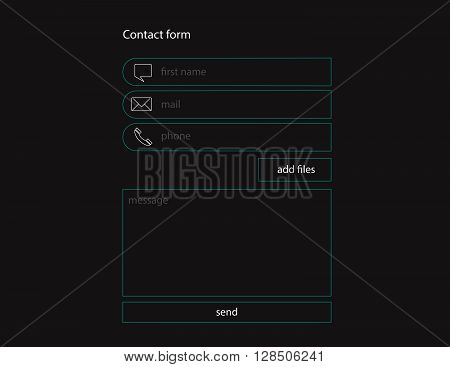 Web site registration contact form. Vector illustration