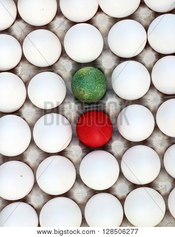 Picture of a difference concept with white eggs