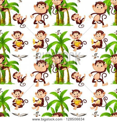 Seamless monkeys and coconut trees illustration