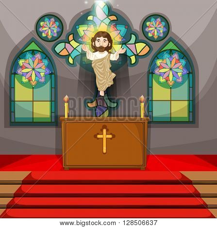 Jesus figure in the church illustration