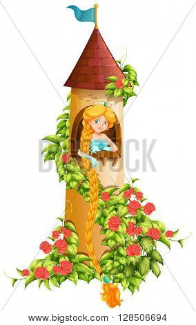 Princess sitting in castle tower illustration