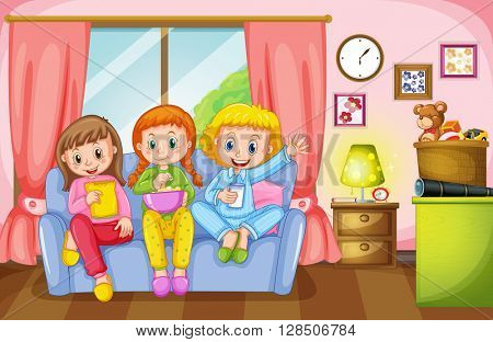 Three girls sitting on sofa at home illustration