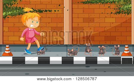 Girl kicking rats on the street illustration