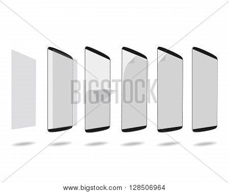 Black smart phones screen with protector glass set different steps. Vector illustration. EPS 10. No gradients. Raw materials are easy to edit.