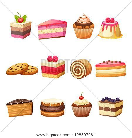 Cakes pastry and sweet desserts set isolated vector illustration