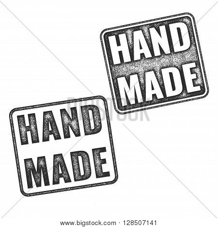 Realistic Vector Handmade Grunge Rubber Stamps