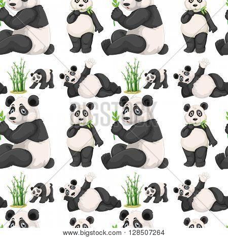 Seamless panda and bamboo illustration