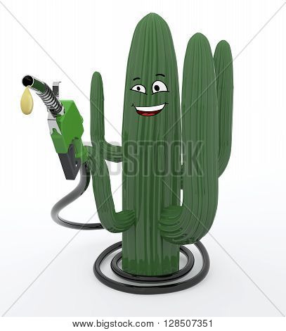 cactus plant and fuel pump 3d illustration