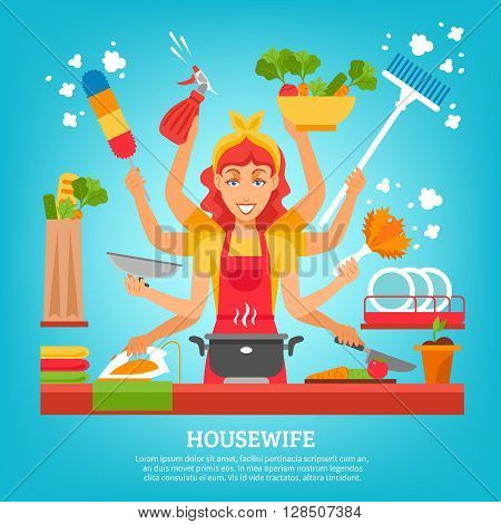 Multitasking housewife with women in apron with eight hands holding different items for home work flat vector illustration