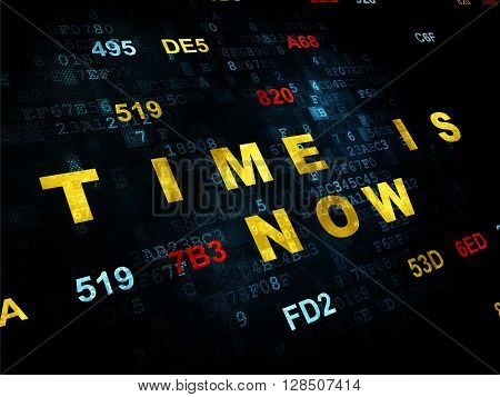 Time concept: Pixelated yellow text Time is Now on Digital wall background with Hexadecimal Code