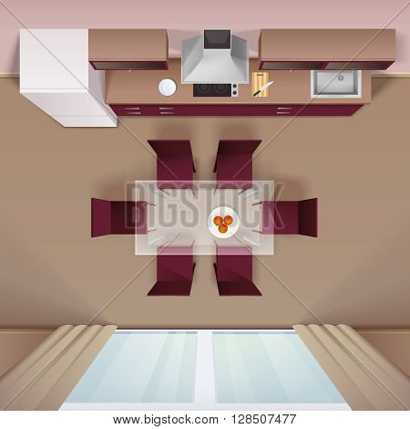 Modern kitchen with glass dining table and electric cooker design top view advertisement image realistic vector illustration
