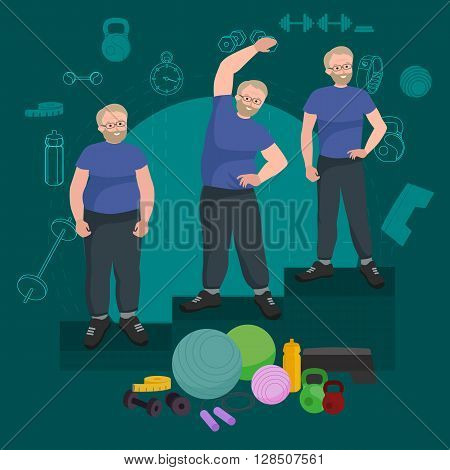 before and after weight loss men in gym concept fitness vector illustration