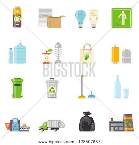 Garbage Icons Set. Recycling Vector Illustration. Recycling Flat Symbols. Recycling Design Set. Garbage Recycling Collection.