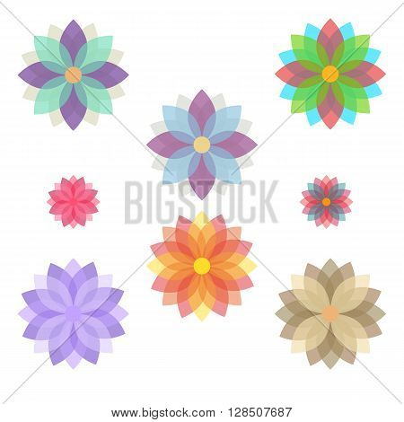 Fully vector set of stylized flowers (blooms). Stylized flowers collection in various colors and sizes. Flowers icons for various use like a stickers icons background stamps etc.