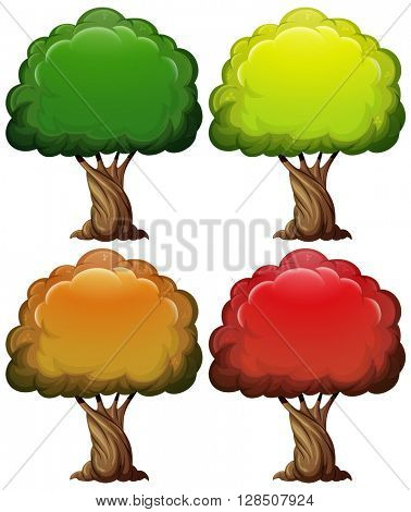 Tree with color leaves in four seasons illustration