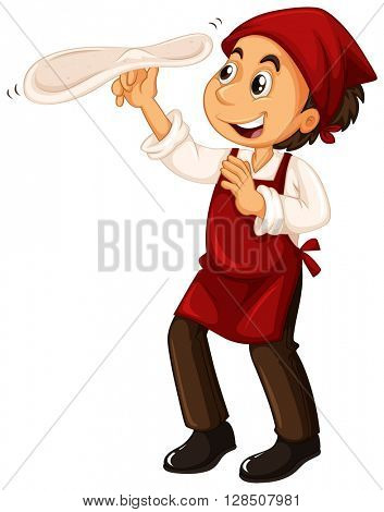 Chef with red apron making pizza illustration
