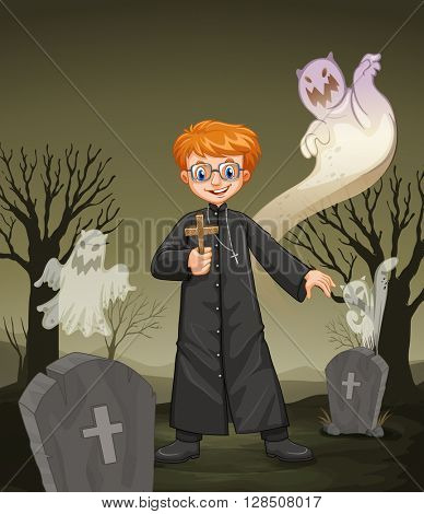 Priest holding cross in the graveyard illustration