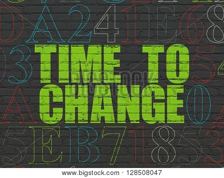 Time concept: Painted green text Time to Change on Black Brick wall background with Hexadecimal Code