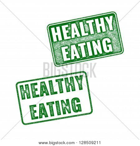 Green Vector Grunge Rubber Stamps Healthy Eating