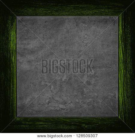 Dark Green Grunge Canvas With Wood Frame
