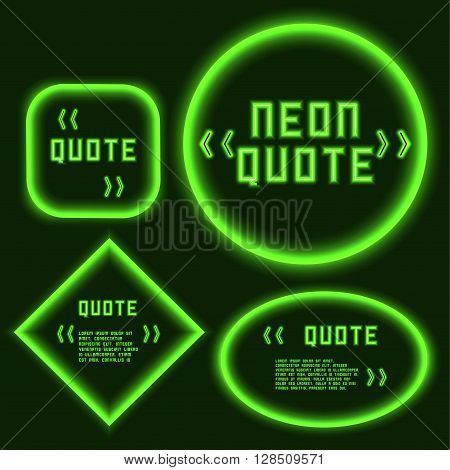 set Retro hipster neon glowing quote marks frame green