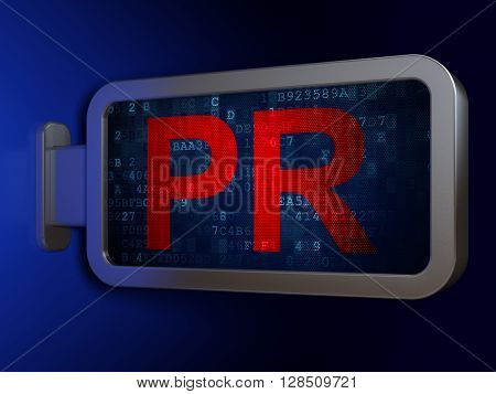 Advertising concept: PR on advertising billboard background, 3D rendering