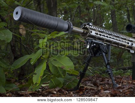 Modern sporting rifle with a suppressor on in the forest