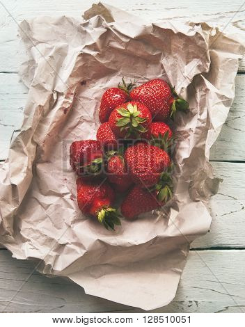 Fresh strawberry on the white rustic style table