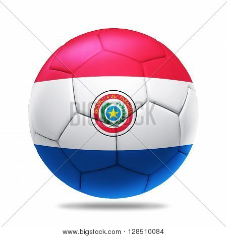 3D soccer ball with Paraguay team flag isolated on white