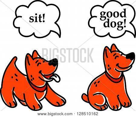 poster of Vector flat hand drawn happy dog portrait. Dog silhouette. Dog icon. Sitting dog, standing dog. Doggy illustration. Dog exercise. Dog center, dog sport.