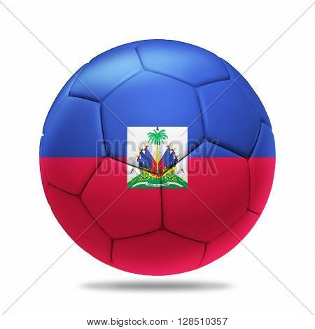 3D Illustration soccer ball with Haiti team flag isolated on white