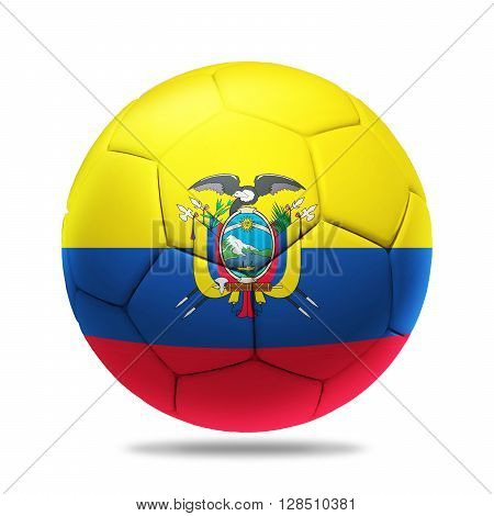 3D Illustration soccer ball with Ecuador team flag, isolated on white
