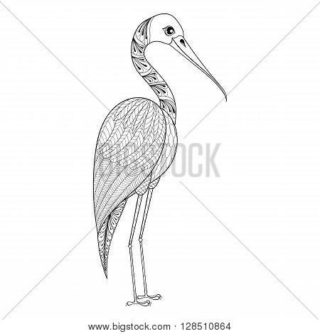 Zentangle Hand drawn Stork for adult antistress coloring pages, post card, t-shirt print, Wedding invitation. Bird illustration in doodle style, tattoo monochrome design. Animal sketch.