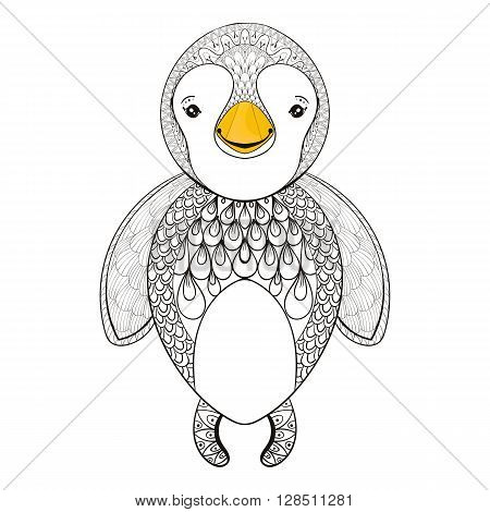 Vector penguin for adult coloring page. Hand drawn cute penguin kids for t-shirt print in zentangle style, tattoo design, ornamental animal logo. Patterned doodle with smiled happy pinguin.