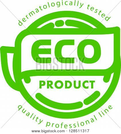 Vector flat eco product emblem. Ecological cosmetic sign. Eco badge. Natural product line. Nature certificate quality. Leaf icon. Eco symbol. Natural cosmetics. Eco friendly logo. Bio organic product.
