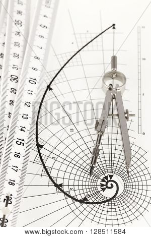 drawing of the golden section, folding ruler & compass
