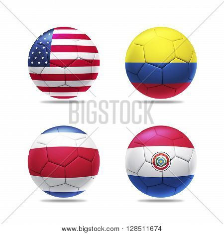 3D Illustration soccer ball with group A teams flags, isolated on white